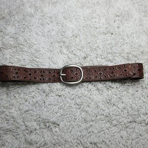 Fossil Floral Perforated Belt sz M